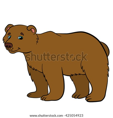 Cartoon animals for kids. Cute brown bear stands and smiles.