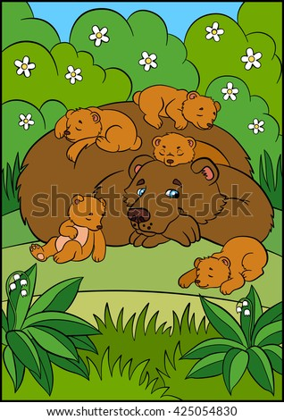 Cartoon animals for kids. Daddy bear with his sleeping little cute baby bears in the forest. - stock vector