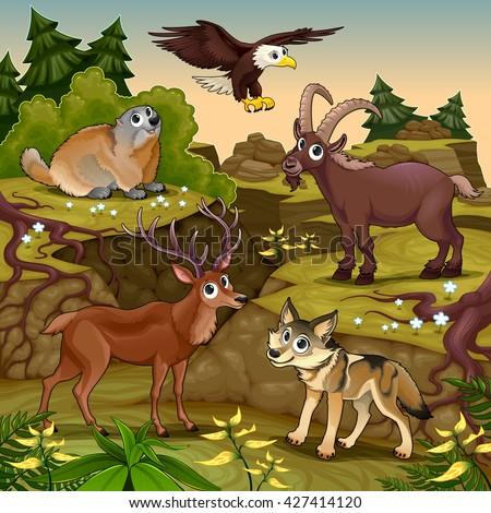 Cartoon animals in a mountain landscape. Vector cartoon illustration. - stock vector