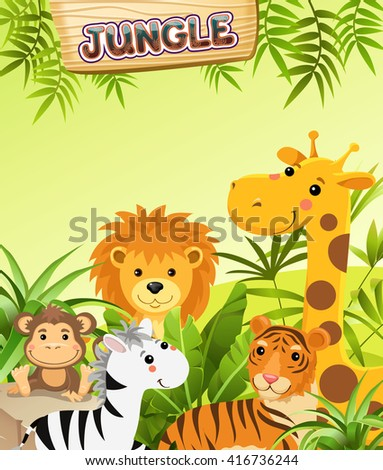 cartoon animals in tropical jungle.