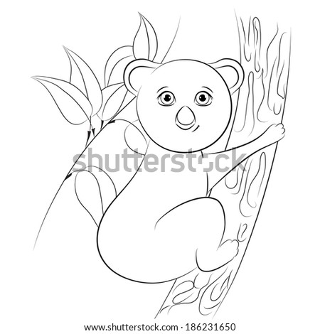 K Is For Koala Coloring Page Cartoon animals. Koala. Coloring. Alphabet letter K. Vector ...