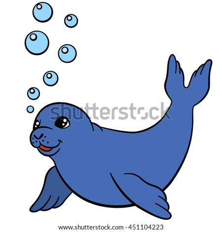 Cartoon animals. Little cute baby seal swims and smiles.