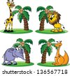 Cartoon animals - vector - stock vector