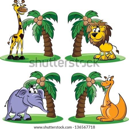 Cartoon animals - vector - stock vector