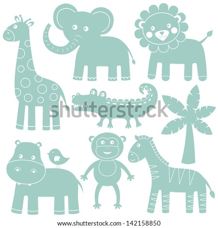 Cartoon animals vector set - stock vector