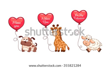 Cartoon animals with balloons in heart shape. Valentine's day greeting card. I love you. I miss you. Be my Valentine. You are my Heart. - stock vector