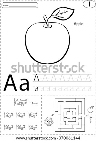 Cartoon Apple And Aircraft Alphabet Tracing Worksheet Writing A Z Coloring Book Educational