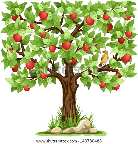 Cartoon apple tree isolated on white background - stock vector