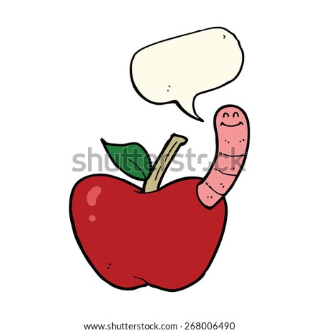 cartoon apple with worm with speech bubble - stock vector