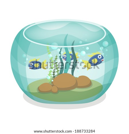 Cartoon aquarium with fishes, vector illustration, eps10 - stock vector