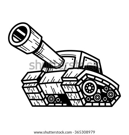 Cartoon Army Tank Machine Big Cannon Stock Vector ...