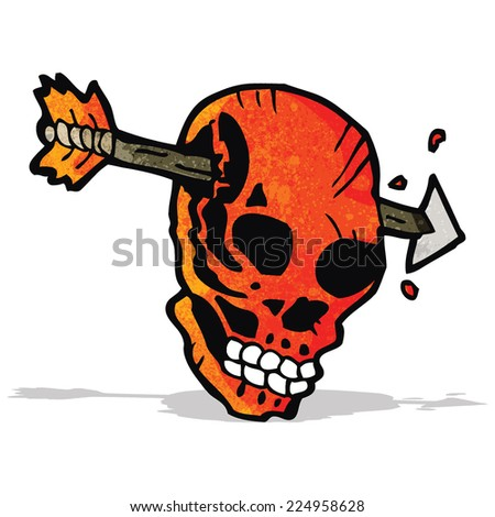 cartoon arrow through skull