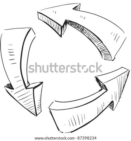 Cartoon arrows and recycle sign icon. Sketch fast pencil hand drawing illustration in funny doodle style.