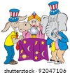cartoon art of the republican elephant and the democratic donkey standing by a fortune teller sweating the outcome of their future. - stock photo