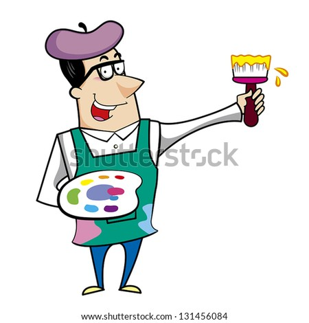 Cartoon artist with paintbrush and paint palette vector illustration. - stock vector