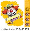 Cartoon/Artistic illustration of a Clown Holding a Label - stock