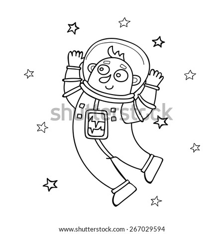 Cartoon astronaut floating. Vector illustration in doodle style.