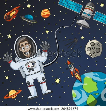 Cartoon astronaut in space with satellite moon earth and flying saucer on background vector illustration - stock vector