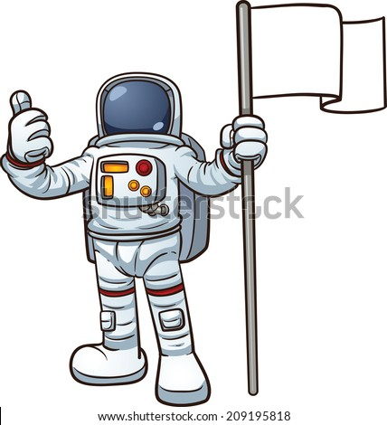 Cartoon astronaut with blank flag. Vector clip art illustration with simple gradients. All in a single layer.  - stock vector
