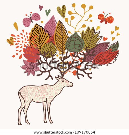 Cartoon autumn background with deer and flowers - stock vector
