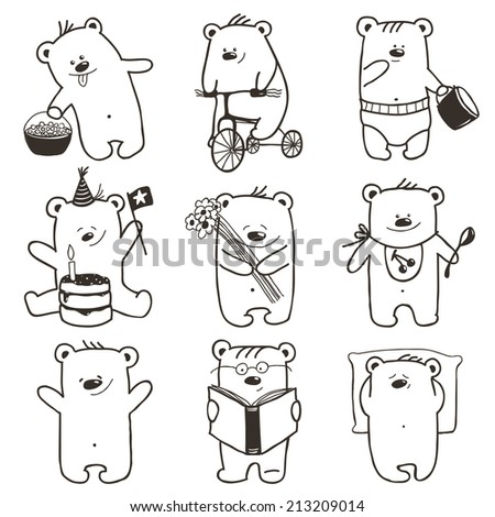 Cartoon Baby Bears in Action Collection. Nine hand drawn  simple childish bears set. Vector illustration. - stock vector