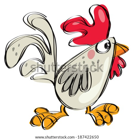 Cartoon baby chicken white any grey in a naif childish drawing style - stock vector