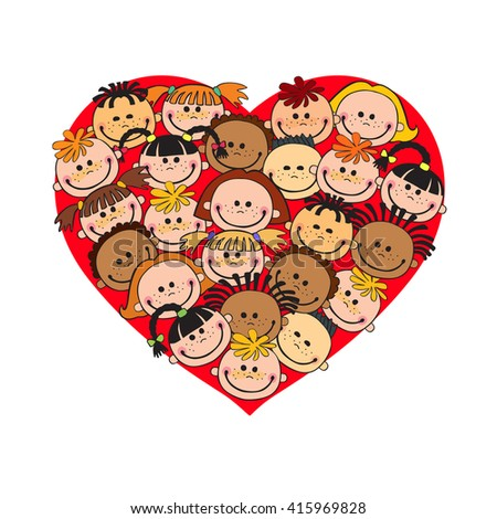 Cartoon baby faces in heart shaped frame vector face love smile illustration, childhood, kid, global associations, unions, internationally crowd many society,  joy - stock vector