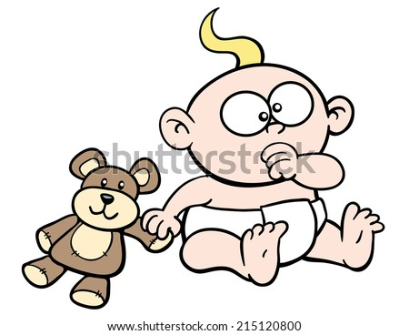 Cartoon baby, sucking thumb, with teddy bear - stock vector