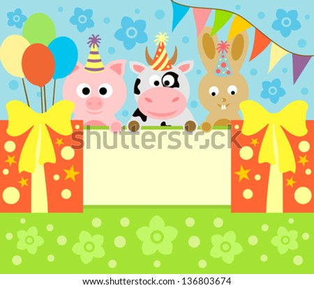 Cartoon background card with funny animals