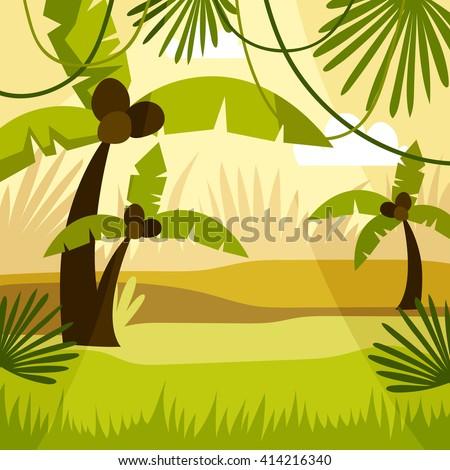 cartoon background jungle - stock vector