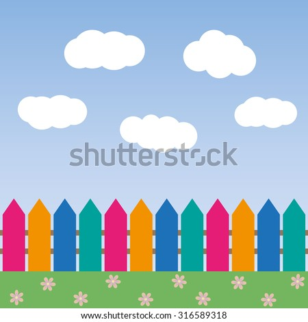 cartoon background with color fence and clouds vector illustration