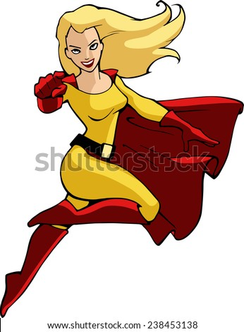 Cartoon background with superhero in bright costume