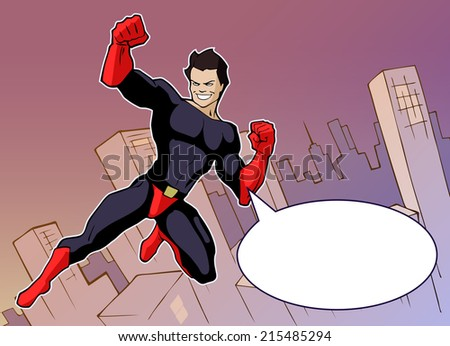 Cartoon background with superhero in bright costume flying above the city - stock vector