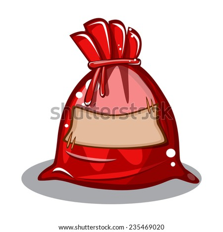 cartoon bag Santa Claus with space for writing on white background vector - stock vector