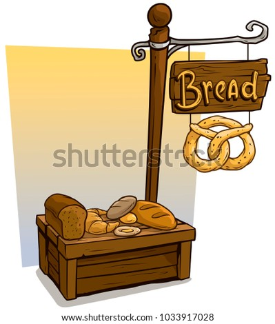 Cartoon bakers vendor booth or baker shop market wooden stand. Wooden sign with text Bread. Vector icon for game