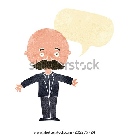 cartoon bald man with open arms with speech bubble - stock vector