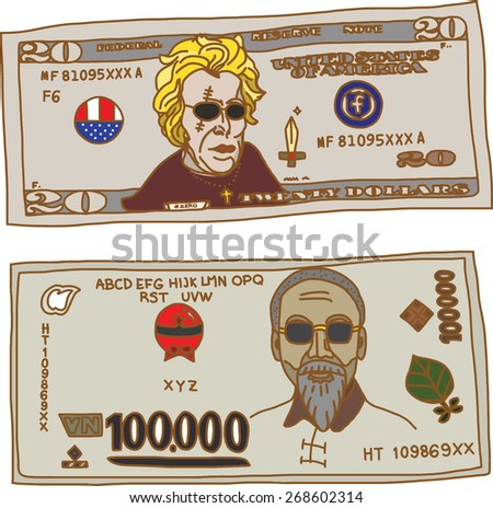 Cartoon Banknote on white background - stock vector