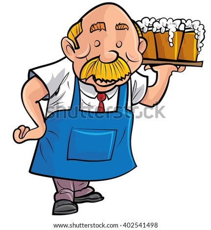 Cartoon barman serving beer. Isolated on white
