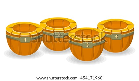 Cartoon Barrels with Numbers On White Background