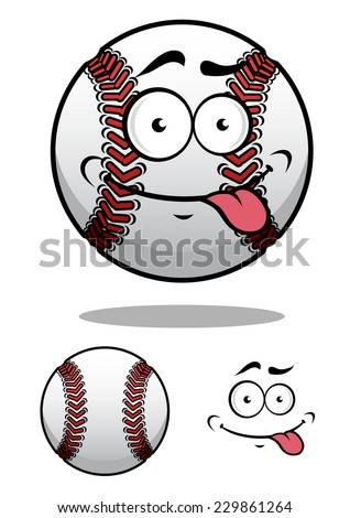 Cartoon baseball ball with a cheeky grin and protruding tongue with a second plain variant, vector illustration on white - stock vector