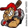 Cartoon Baseball Player Batting Vector Design - stock vector