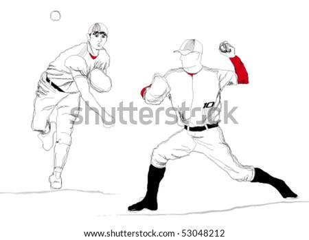 Cartoon baseball player. Vector. - stock vector