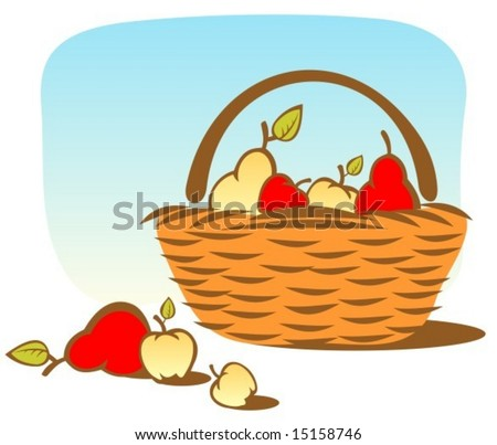 Cartoon basket with apples and pears on a sky background.