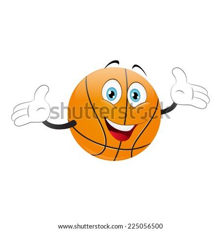 Cartoon basketball on a white background. Vector - stock vector