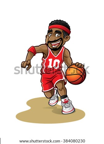 cartoon basketball player is moving dribble with a smile - stock vector