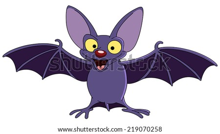 Cartoon bat spreading his wings - stock vector