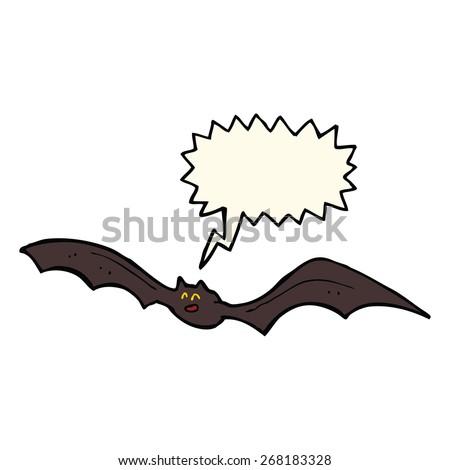 cartoon bat with speech bubble - stock vector