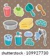 cartoon Bathroom Equipment  stickers - stock vector