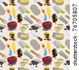 cartoon BBQ seamless pattern - stock photo