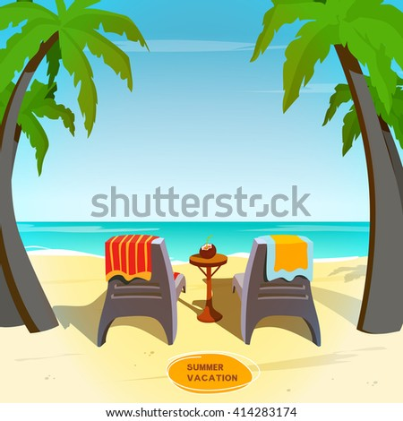 Cartoon beachside image. Sunbeds for couple with towels in front of sea. Summer seaside card, vacation postcard, poster, banner template. Vector flat cartoon illustration. - stock vector